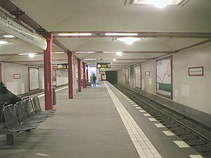 "U6 (Berlin U-Bahn) - The Schwartzkopffstraße station in 2004. It was one of the ""ghost stations"" closed from 1961 to 1990"