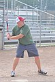 U.S. Coast Guard Lt. Rick Colby, a product line division member at Coast Guard Civil Engineering Unit Cleveland, takes his turn at bat during his unit's softball practice July 31, 2013, at Kennedy Field 130731-G-KB946-066.jpg