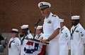 U.S. Navy Capt. Dave Welch, the commanding officer of Surface Warfare Officers School, speaks during a 9-11 commemoration ceremony at Naval Station Newport, R.I., Sept 140911-N-PX557-144.jpg