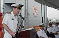 U.S. Navy Capt. Mark Johnson, the commander of Destroyer Squadron (DESRON) 9, the commander of Destroyer Squadron (DESRON) 9, speaks during the DESRON 9 change of command ceremony aboard the guided missile 130801-N-MM360-072.jpg