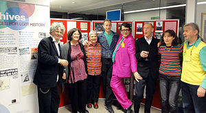 Peter Tatchell - Original UK Gay Liberation Front activists, including Bette Bourne (on the left), at LSE 40th anniversary celebration, Tatchell is fourth from the left.