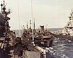 USS Cahaba (AO-82) refueling USS Iowa (BB-61) and USS Shangri-La (CV-38) in 1945.jpg