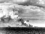 USS Franklin (CV-13) burning in 1945.jpg