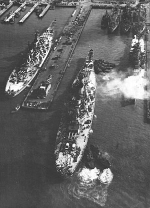Naval Station Norfolk - USS New Jersey (BB-62) and USS Missouri (BB-63) at NS Norfolk in 1954.