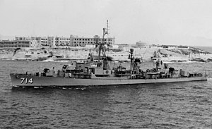 USS William R. Rush (DDR-714) at Malta in 1961