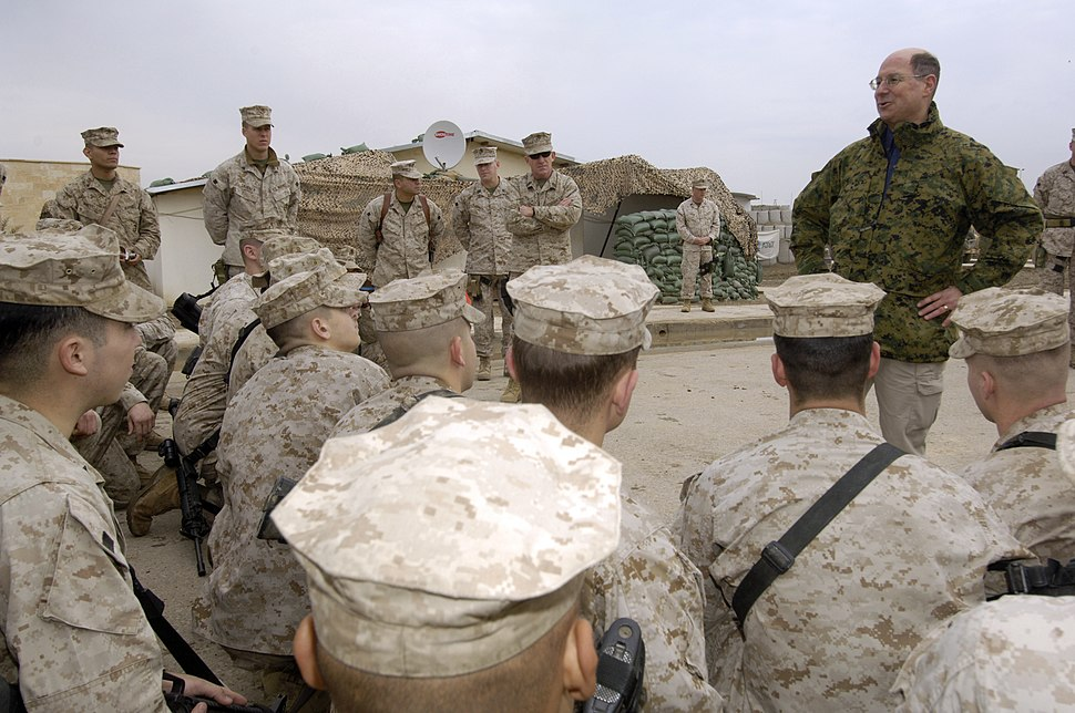 US Navy 060128-N-2568S-090 Secretary of the Navy (SECNAV) Dr. Donald C. Winter addresses Marines assigned to the 3rd Battalion, 7th Marines about their missions and to find out how things are going