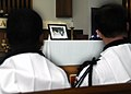 US Navy 070412-N-4049C-040 Sailors honor fallen military working dog, Ben, at a memorial service at the Naval Station Mayport base chapel. Ben retired in April 2006 and was one of the last patrol dogs in the Navy.jpg