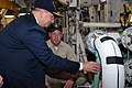 US Navy 081125-N-7631T-001 Cmdr. Kurt Kastner, commanding officer of the amphibious transport dock ship USS San Antonio (LPD 17), shows Secretary of the Navy the Honorable Dr. Donald C. Winter the repairs recently conducted abo.jpg