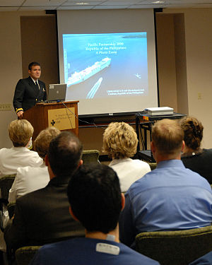 Andrew Baldwin - Baldwin speaks to the residents and staff at St. Joseph's Hospital and Medical Center