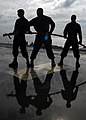 US Navy 090625-N-5538K-161 Sailors stand by with a charged hose during an emergency flight quarters fire drill on the flight deck of the amphibious transport dock ship USS Denver (LPD 9).jpg