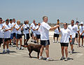 US Navy 100610-N-6865V-002 Capt. James McHugh, commanding officer of Naval Base Ventura County accepts the Flame of Hope torch from members of the Port Hueneme Law Enforcement relay group.jpg