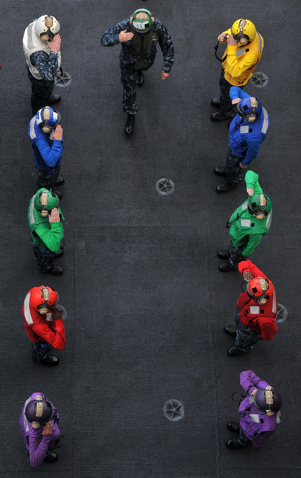 US Navy 100810-N-5749W-014 Vice Adm. Richard W. Hunt crosses the rainbow sideboys during an arrival aboard USS Abraham Lincoln (CVN 72)