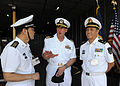 US Navy 101201-N-7589W-046 Cmdr. Mark Becker, center, mission commander of Southern Partnership Station 2011, speaks with People's Liberation Army.jpg