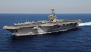 USS George H.W. Bush - Image: US Navy 110129 N 3885H 158 USS George H.W. Bush (CVN 77) is underway in the Atlantic Ocean