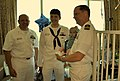 US Navy 110907-N-CI293-014 Master Chief Electronics Technician David Turley Electrician's Mate 2nd Class Dustin Collman and Cmdr. Michael Fisher po.jpg