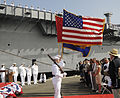 US Navy 110930-N-UM054-170 The color guard presents the colors during the decommissioning ceremony for the amphibious transport dock ship USS Cleve.jpg