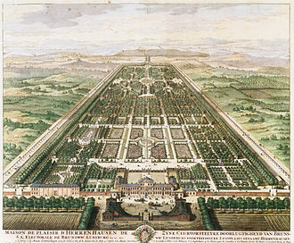 Sophia of Hanover - Summer Palace of Herrenhausen and the Great Garden, ca 1708