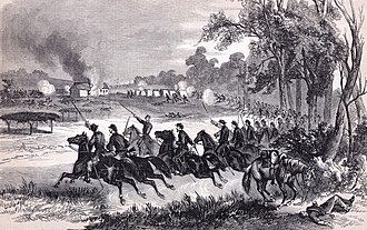 6th Kansas Volunteer Cavalry Regiment - The 6th Kansas Cavalry at the Battle of Honey Springs, July 1863. Engraving based on sketch by James R. O'Neill.
