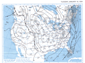 1994 North American cold wave - Surface analysis map at 7 AM EST on January 18, 1994.