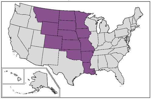 Map of current U.S. states that were completely or mostly inside the borders of old colonial French Louisiana at the time of Louisiana Purchase United States Louisiana Purchase states.png