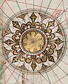 Upper right compass rose in 1543 France, from- Guillaume Brouscon. World chart, which includes America and a large Terra Java (Australia). HM 46. PORTOLAN ATLAS and NAUTICAL ALMANAC. France, 1543 (cropped).jpg