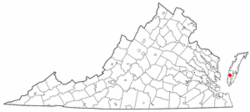 Location of Eastville, Virginia