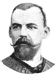 Desenho monocromático do busto de um homem com barba e bigode.
