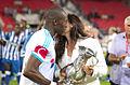 Valais Cup 2013 - OM-FC Porto 13-07-2013 - Rod Fanni et Marion Bartoli.jpg