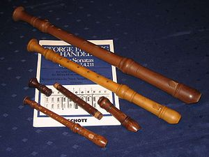 Recorder (musical instrument) - Various recorders (second from the bottom disassembled into its three parts)