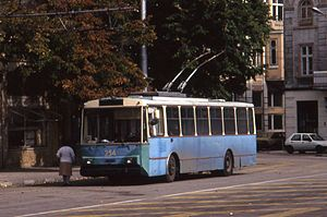 Trolleybuses in Varna - A Škoda 14Tr trolleybus in Varna, 1993.