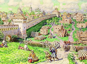 Bely Gorod - Image: Vasnetsov Lubyanoy torg na Trube