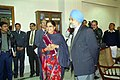 Vasundhara Raje Scindia along with senior Ministers and State officials meeting the Deputy Chairman Planning Commission, Shri Montek Singh Ahluwalia to finalize Annual Plan 2005-06 in New Delhi on January 04, 2005.jpg