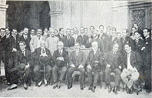 Venceslau Brás - President Venceslau Brás and his cabinet in 1915: Marshal José Caetano de Faria (War), Augusto Tavares de Lima (Transportation), Lauro Müller (Foreign Affairs) and Admiral Alexandrino de Faria Alencar (Navy). Around him, senators, congressmen and journalists.