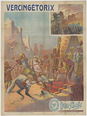 Vercingetorix in popular culture - Poster for the French film Vercingétorix by Cândido de Faria for Pathé, 1909. Collection EYE Film Institute Netherlands.