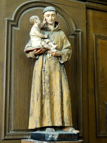 File:Versigny (60), église Saint-Martin, bas-côté sud, statue de saint Antoine de Padoue.JPG