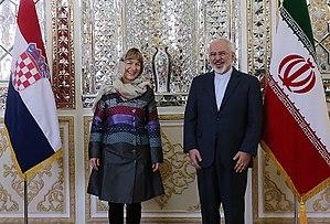 Vesna Pusić - Pusić meeting Iranian foreign minister Mohammad Javad Zarif in Tehran in January 2015