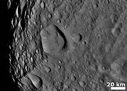Vesta Cratered terrain with hills and ridges