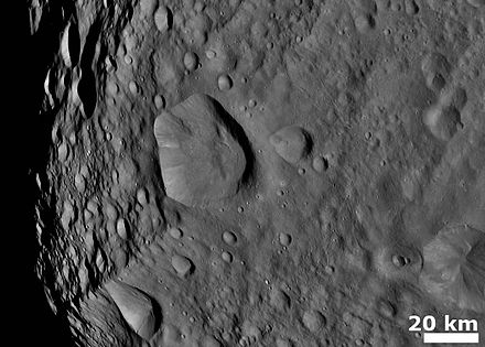 Cratered terrain on 4 Vesta Vesta Cratered terrain with hills and ridges.jpg