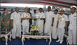 Vice Admiral HCS Bisht, Flag Officer Commanding-in-Chief, Eastern Naval Command presented a memento to the Chief Minister of Tamil Nadu Edappadi K. Palaniswami during the dedication ceremony of INS Chennai.jpg