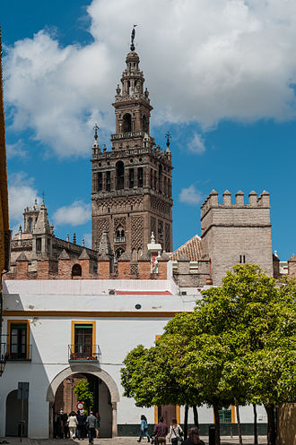 Seville - View of the Giralda from the Patio de Banderas (Courtyard of Flags), historic square with remains of Roman, Moorish and Castilian periods.