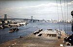 View of the forward flight deck of USS Franklin (CV-13) off the New York Navy Yard on 28 April 1945.jpg