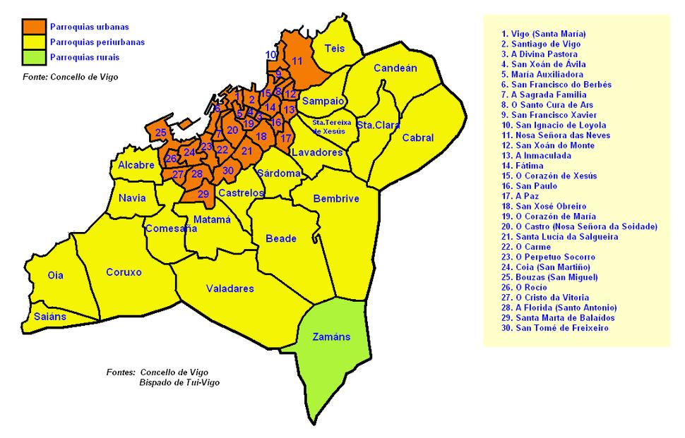 Vigo mapa parroquial