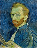 A red-bearded man in a blue smock holding paintbrushes and artist palette in his hand; looks to the left.