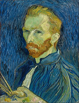 Self-Portrait, 1889. National Gallery of Art, Washington, D.C. His Saint-Rémy self-portraits show his side with the unmutilated ear, as he saw himself in the mirror