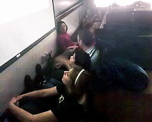 Virginia Tech shooting - Elementary French class students take cover in Holden Hall room 212.