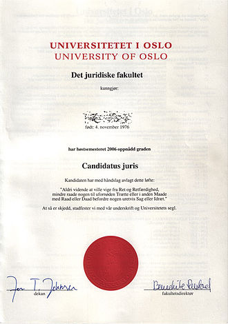 Candidate of Law - Diploma from the University of Oslo