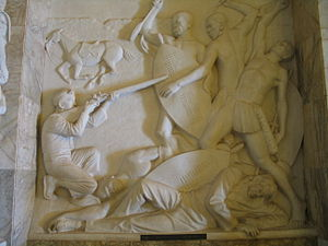 Piet Uys - Piet Uys and his son Dirkie, dying in battle; a frieze of the Voortrekker Monument