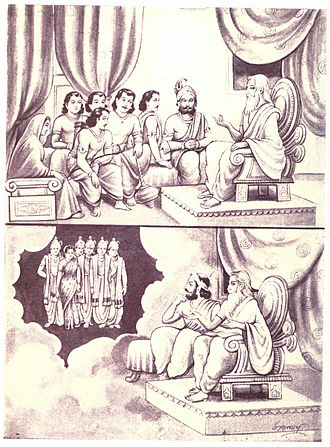 Draupadi - Vyasa telling the secret of birth of Draupadi to Draupada