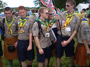 Explorer Scouts (The Scout Association) - Explorer Scouts from Northern Ireland at the 21st World Scout Jamboree in 2007, wearing either activity shorts or the Irish saffron kilt.
