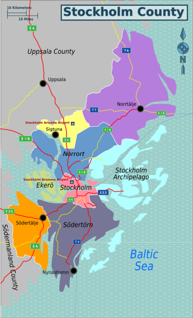 Map of Stockholm County divided for traveller perspective.